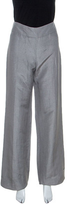Armani Collezioni Grey Linen Silk Blend Wide Leg Trousers M