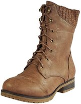 Refresh Womens Wynne-06 Combat Flat Style Lace Up Back Zipper Mid-Calf Bootie