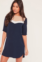 Missguided Navy Colour Block Shift Dress