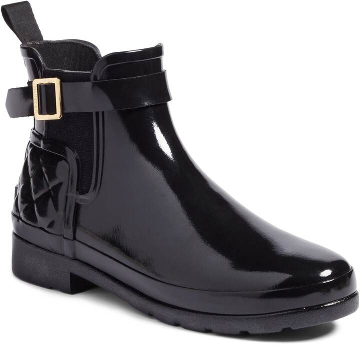 Hunter Refined Quilted Gloss Chelsea Waterproof Boot