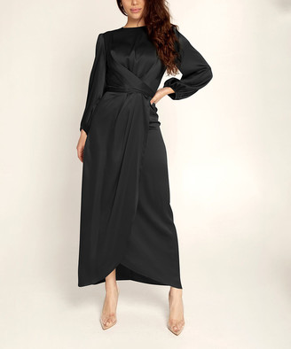 Vicky and Lucas Women's Special Occasion Dresses Black - Black Crossover Bishop-Sleeve Midi Dress - Women
