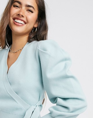 Fashion Union wrap front ballet cardigan with balloon sleeves