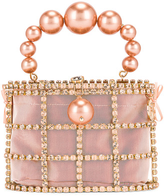 Rosantica Holli Bag in Gold, Light Pink Crystals & Pearls | FWRD