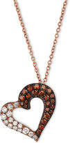 LeVian Le Vian Exotics® Red and White Diamond Heart Necklace (3/8 ct. t.w.) in 14k Rose Gold