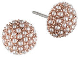 lonna & lilly 1.5MM Simulated Pearl Rose Goldtone Button Stud Earrings