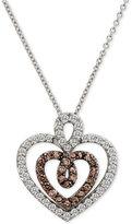 LeVian Le Vian Chocolatier® Diamond Double Heart Pendant Necklace (9/10 ct. t.w.) in 14k White Gold