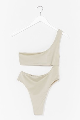 Nasty Gal Womens Cut Above the Rest One Shoulder Swimsuit - Sage
