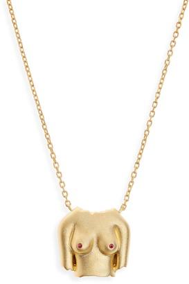 Anissa Kermiche Rubies Boobies 24K Gold Plate Pendant Necklace