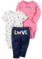Carter's 3-Pc. Butterfly Love Bodysuits & Pants Set, Baby Girls