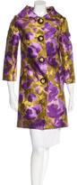 Michael Kors Floral Silk & Wool Blend Coat