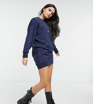 ASOS DESIGN Petite seam detail sweatshirt dress in navy