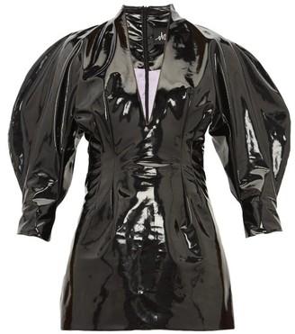 Elzinga - Balloon-sleeve Pvc Mini Dress - Womens - Black