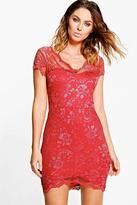 Boohoo Gia Scallop Lace Bodycon Dress