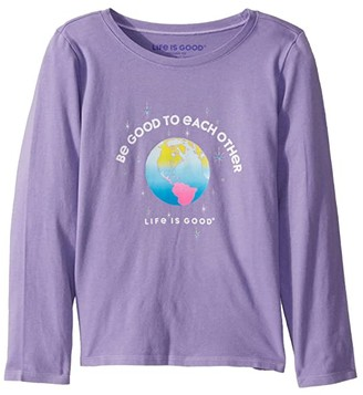 Life is Good Be Good to Each Other Crusher Knit Tee (Little Kids/Big Kids) (Moonstone Purple) Girl's T Shirt
