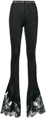 Philipp Plein Flared Ribbed Knit Trousers