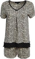Rene Rofe Women's Sleep Bottoms ANIMAL - Tan Leopard Dot Love You to Pieces Pajama Shorts Set - Women