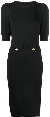 Versace Puff Sleeve Jersey Knit Dress