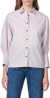 Sandro Noale Windowpane Check Button-Up Cotton Shirt