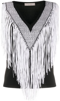 D-Exterior Fringed Crochet Knit Vest Top
