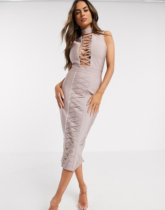 Love & Other Things lace up plunge bandage dress in lilac