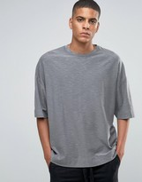 Asos Super Oversized T-Shirt With Crew Neck And Textured Fabric In Gray