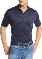 Ermenegildo Zegna Cotton-Silk Polo Shirt, Medium Blue