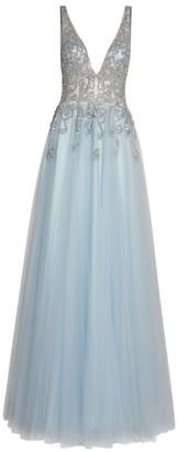 Jovani Sequin-Embellished V-Neck Gown