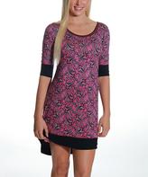 Catherine Malandrino Pink Paisley Three-Quarter Sleeve Nightgown