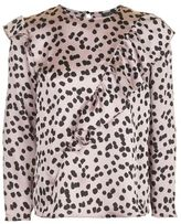 Topshop Splodge print ruffle blouse