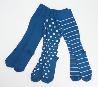 Legacy Women's Stripe & Dot Compression Socks Set of 3