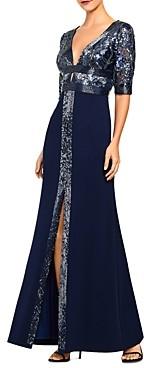 Aidan Mattox Sequin Plunge Gown