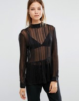 Selected Milla Gold Thread See-Through Top