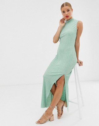 ASOS DESIGN sleeveless high neck plisse maxi dress