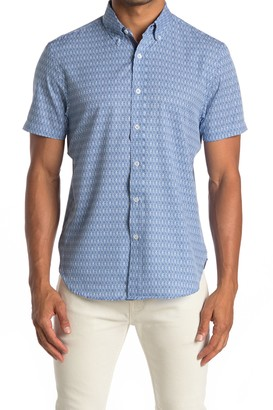 Construct Abstract Geo Print Short Sleeve Slim Fit 4-Way Stretch Shirt