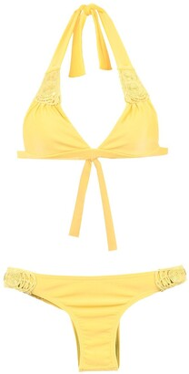AMIR SLAMA Textured Triangle Top Bikini Set