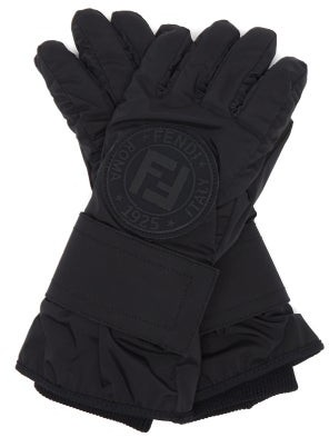 Fendi Ff-logo Leather-panelled Ski Gloves - Black