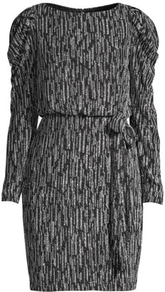 Aidan Mattox Metallic Knit Puff-Sleeve Dress