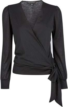 Dorothy Perkins Womens Black Mesh Long Sleeve Wrap Over Top, Black