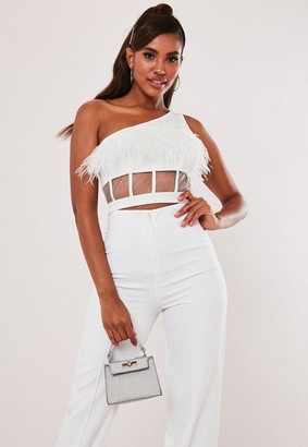 Missguided Feather Mesh One Shoulder Crop Top