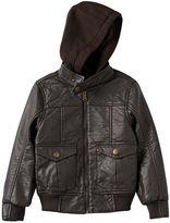 Urban Republic Boys 4-7 Hooded Faux-Leather Moto Jacket