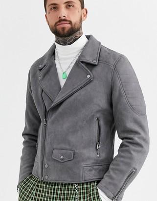 Topman suedette biker jacket in grey