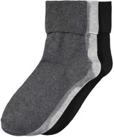 Joe Fresh Women's 3 Pack Cuffed Socks, Charcoal (Size 9-11)