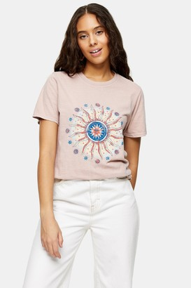 Topshop Womens Petite Pink Earth And Sun T-Shirt - Pink
