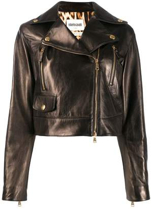 Roberto Cavalli cropped leather jacket