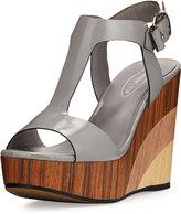 Sheridan Mia Zora T-Strap Leather Wedge Sandal, Stone