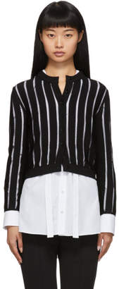 Alexander McQueen Black Sheer Striped Short Cardigan