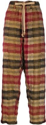 UMA WANG Plaid Straight-Leg Trousers