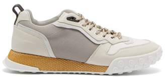Lanvin Timelapse Contrast Panel Leather Trainers - Mens - White