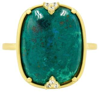 Freida Rothman 14K Yellow Gold Plated Sterling Silver Chrysocolla & CZ Cocktail Ring