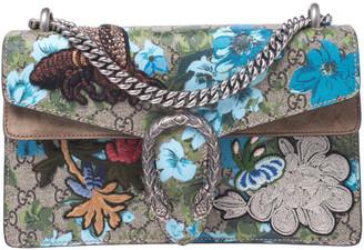 Gucci Beige GG Supreme Canvas Embroidered Bird/Flowers Small Dionysus Shoulder Bag